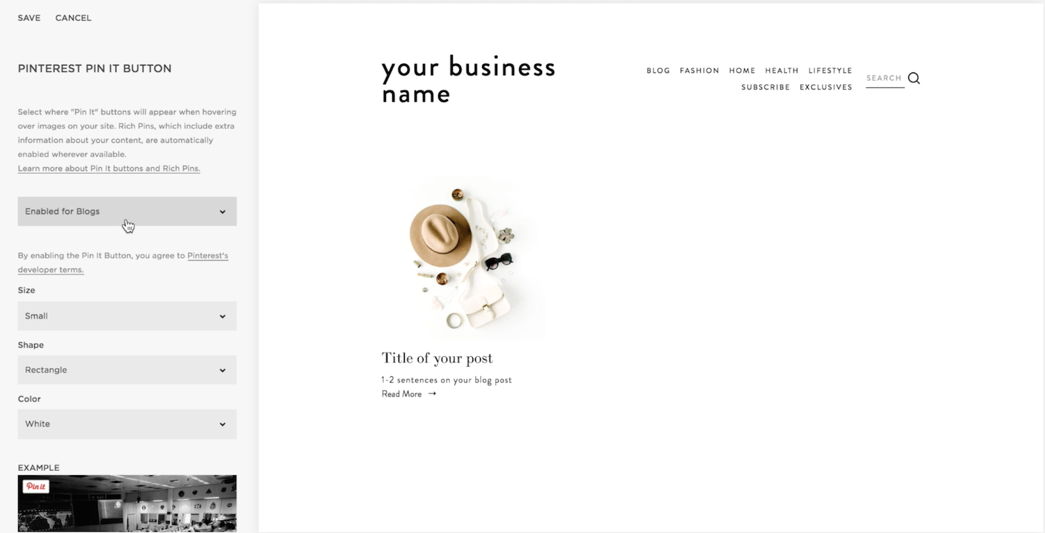 How to enable Pin It Buttons to your Squarespace blog
