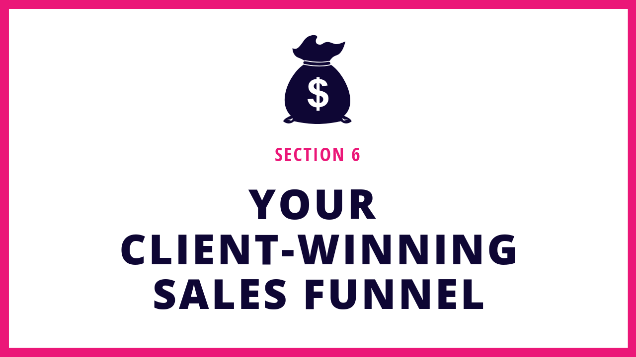 Section 6 of this Squarespace online course teaches you how to get clients on autopilot and set up your first sales funnel