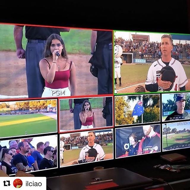 #Repost @ilciao with @get_repost ・・・ Proud of our daughter singing the Australian National Anthem at the finals Perth Heat ⚾️⚾️ @siennaperruzza . . #australiaday #australia #baseball #perthharleydavidson #ballpark #fielderschoice #ball #perthheat #showscreens @classactperformers @daniellepassionesinging