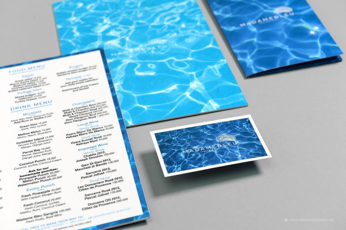 Madame Bleu Beirut Business Card and Menu inside page