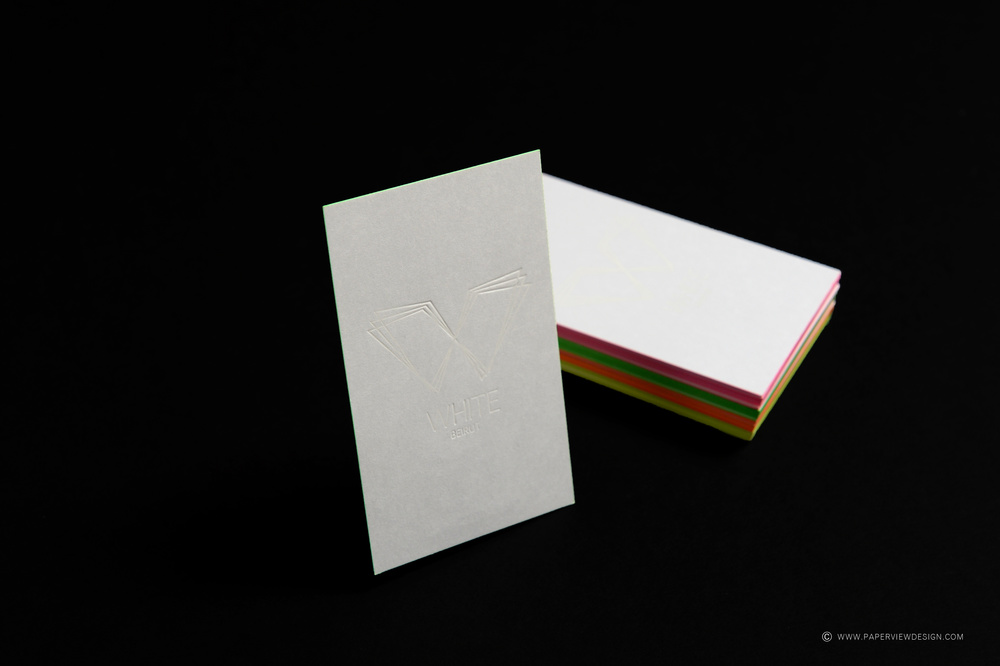 White Beirut - Dubai Business Cards with Neon Sides