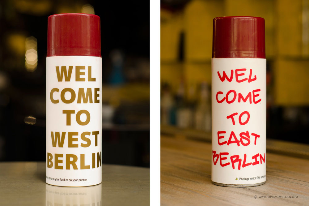 Checkpoint Charlie Beirut Pub Branding Spray Can West to East Berlin
