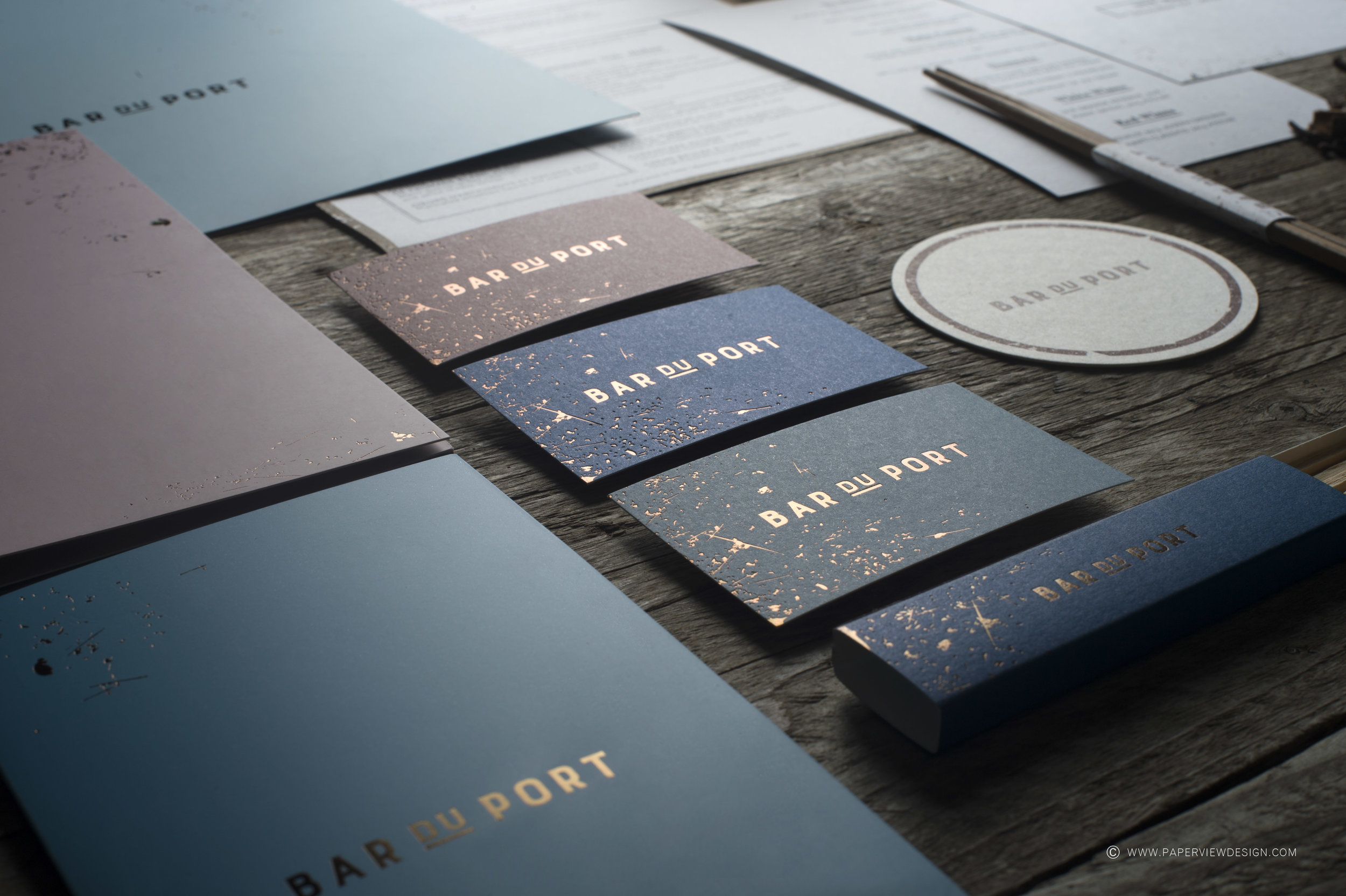 Business-Cards-Bar-Port-Hot-Foil-Texture-Papers-Coasters-Matches-Menu-Branding-Layout