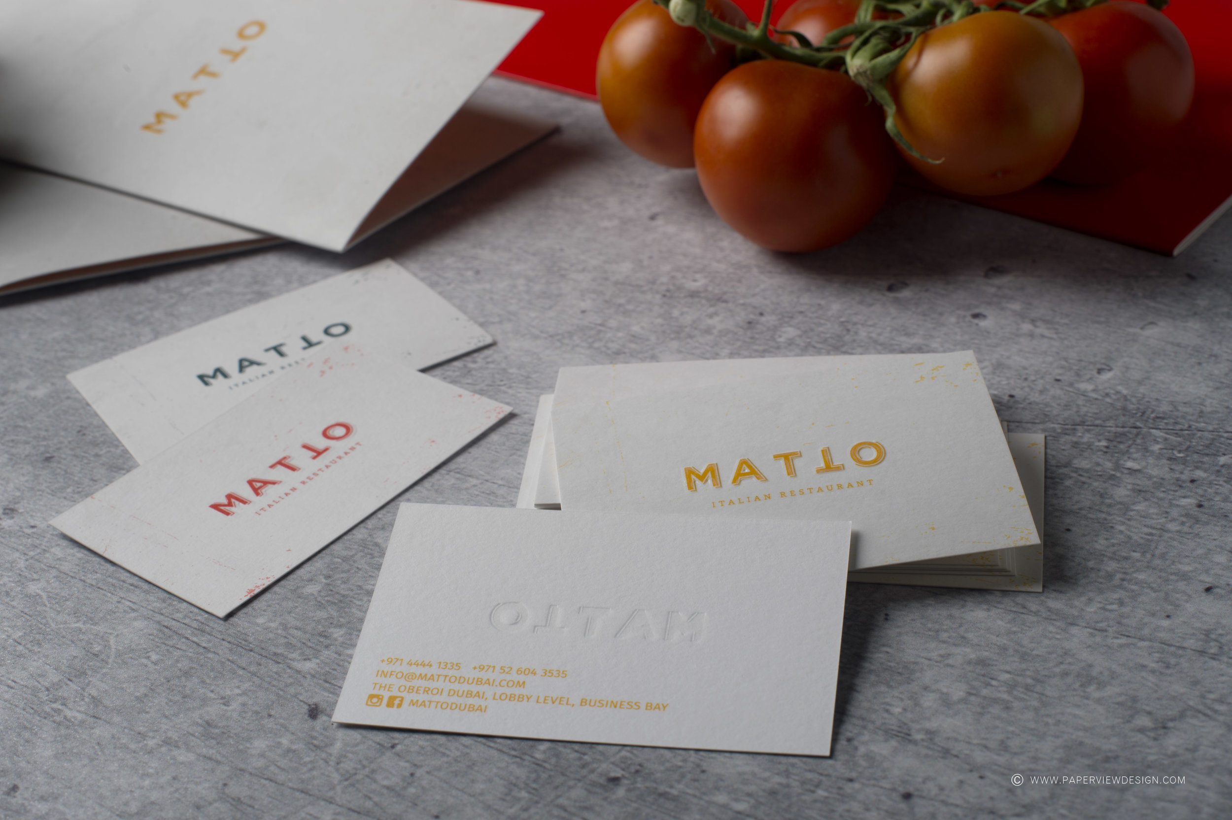 Matto-Restaurant-Identity-Branding-Business-Cards-Embossing-Debossing-Printing-Effects-Papers-Concrete