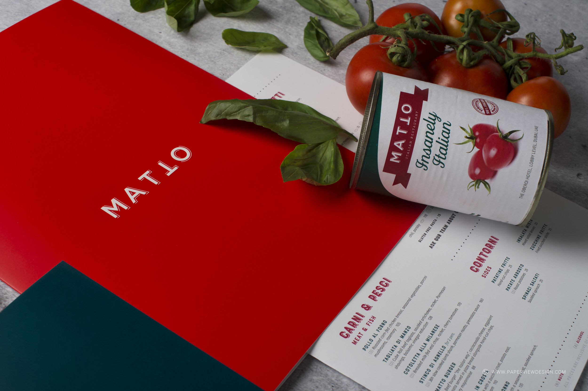 Matto-Restaurant-Menu-Inside-Sheets-Pasta-Meat-Fish-Can-Italian-Branding-Identity-Red-Color-Palette