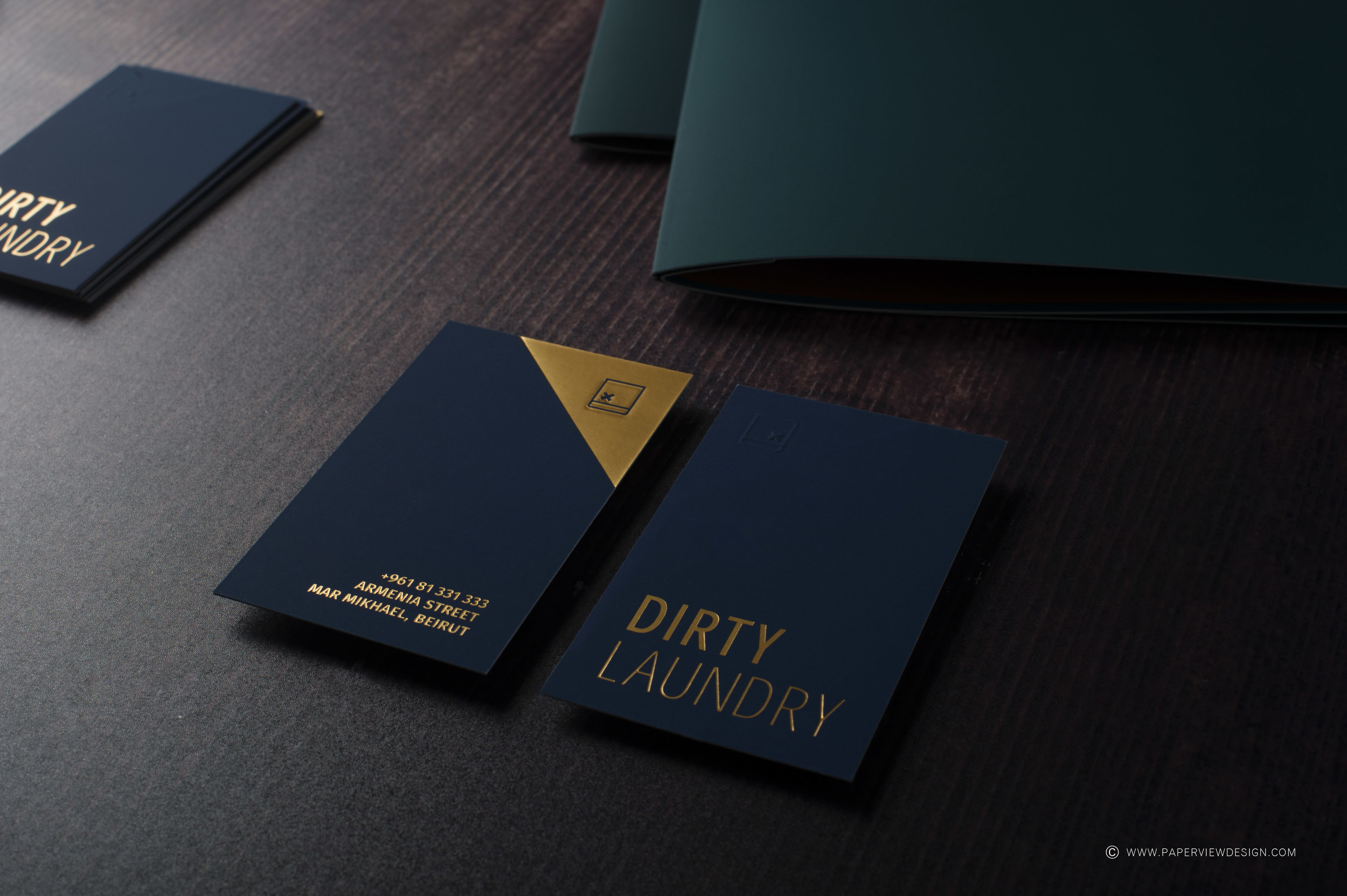 Dirty-Laundry-Branding-Business-Cards-Hot-Foil-Icon-Logo-Debossing-Embossing-Effects-Printing