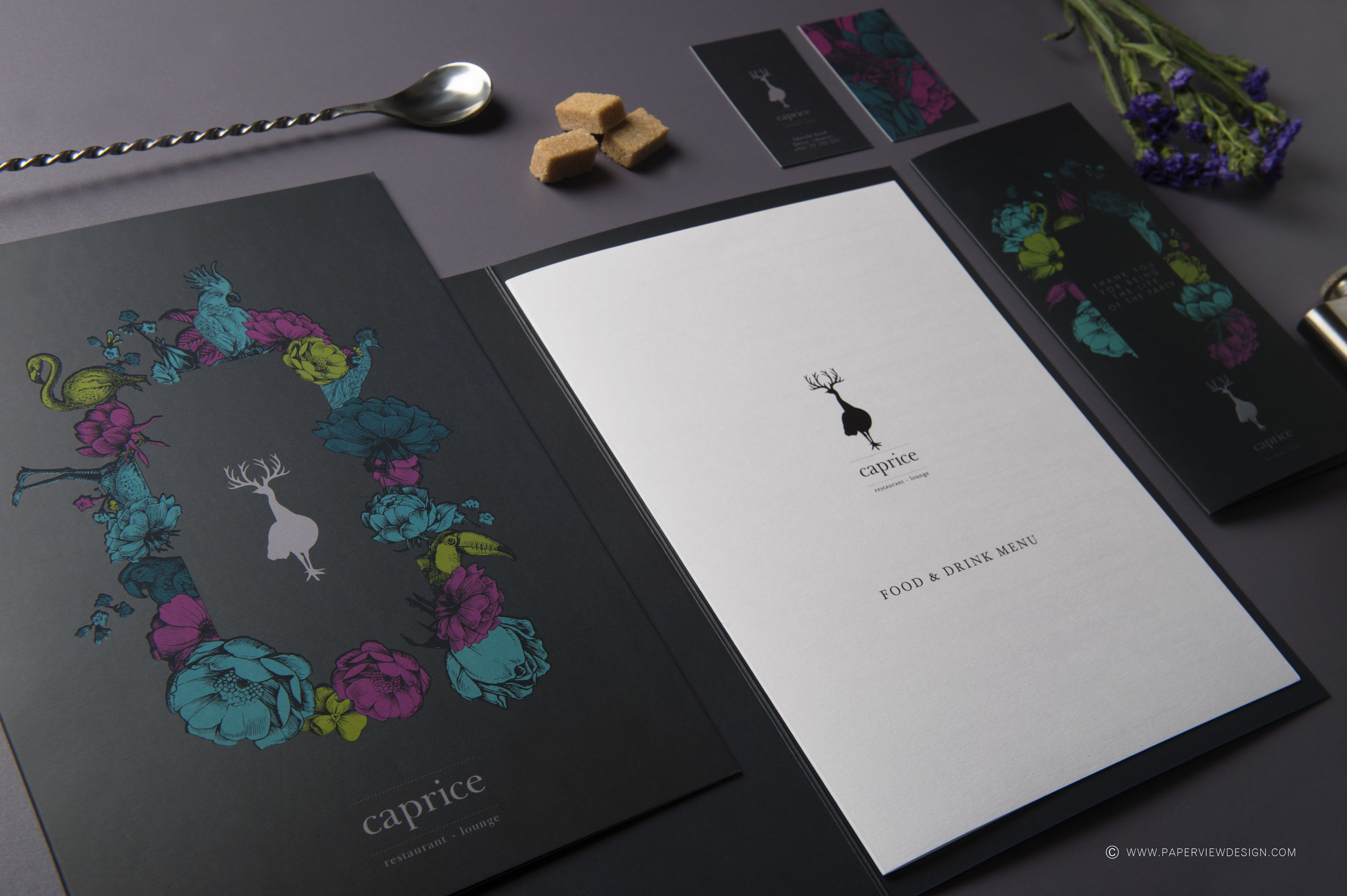 Caprice-Cover-Menus-Inside-Sheet-Flower-Identity-Food-Drink-Menu-Branding-Photography