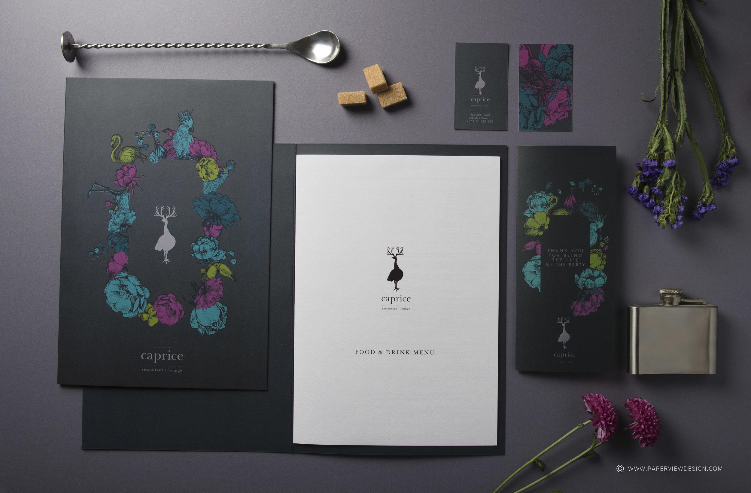 Caprice-Food-Drink-Menu-Inside-Sheets-Foil-Colors-Mood-Board-Flowers-Flask