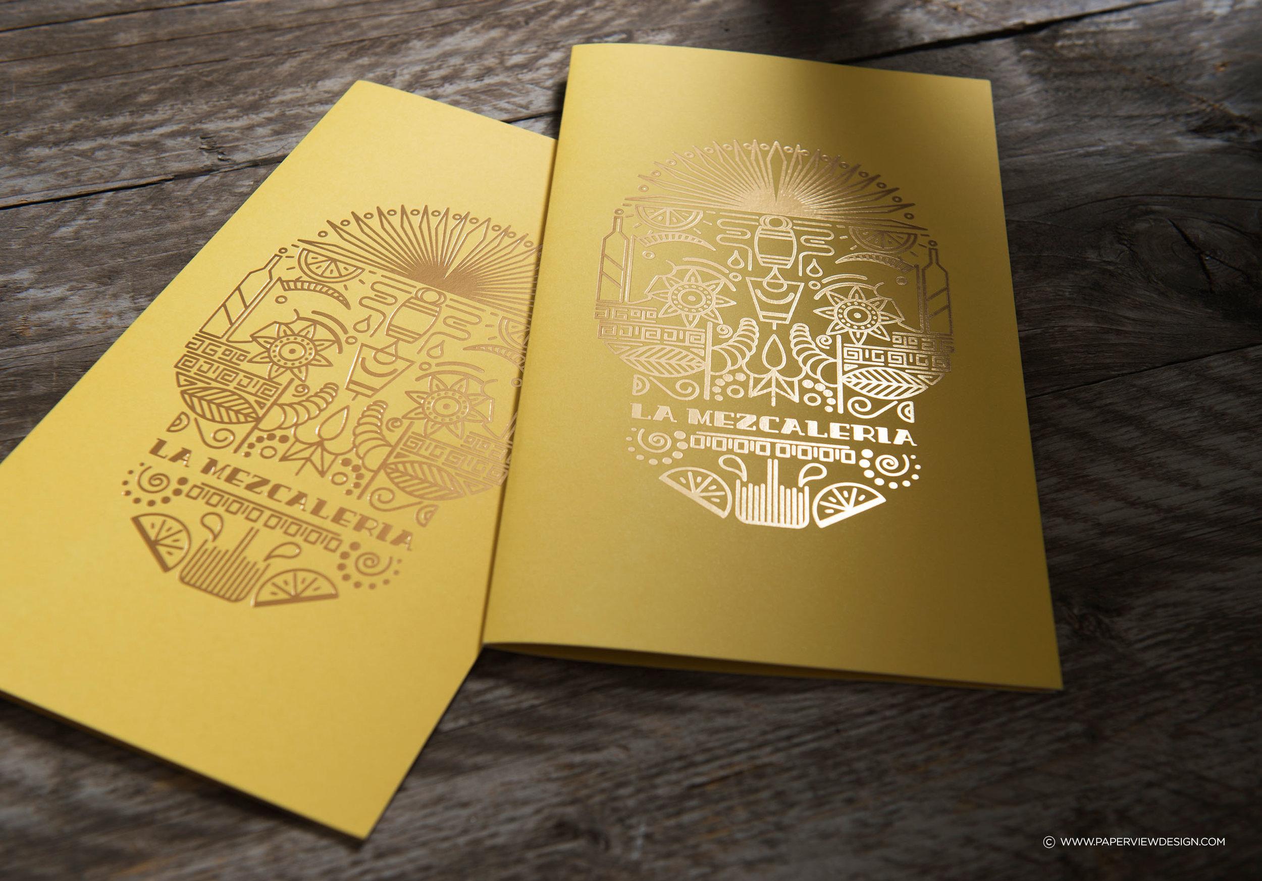 LaMezcaleria-Identity-Branding-Mexican-Bar-Restaurant-Skull-Illustration-Menu-Gold-Foil