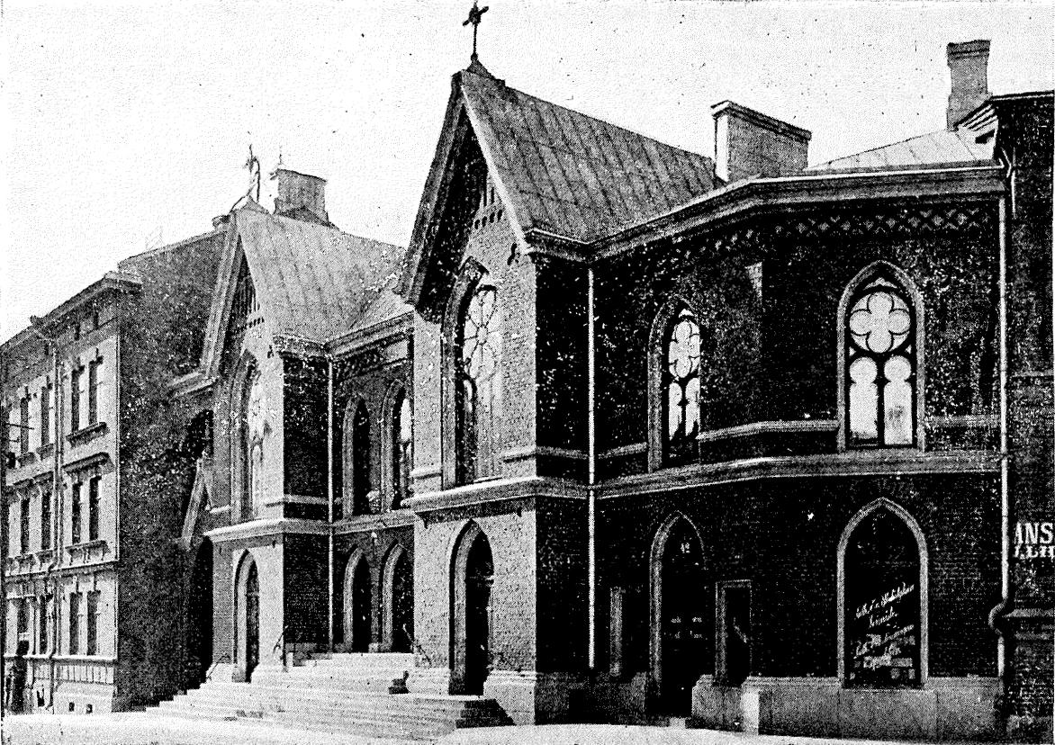 K. A. Wreden Fredrikinkadun varrelle suunnittelema rukoushuone, joka valmistui 1894. Kuva: Sleyn arkisto.