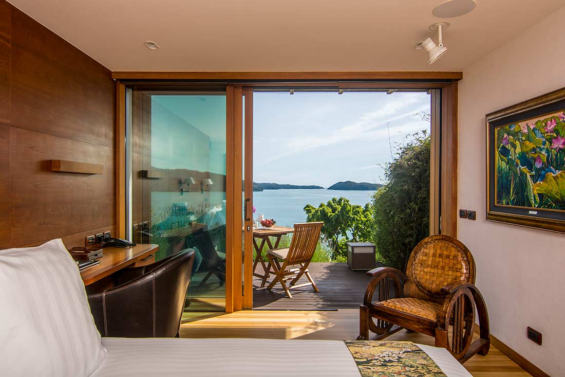 Fuji suite with the private decks and sweeping ocean views