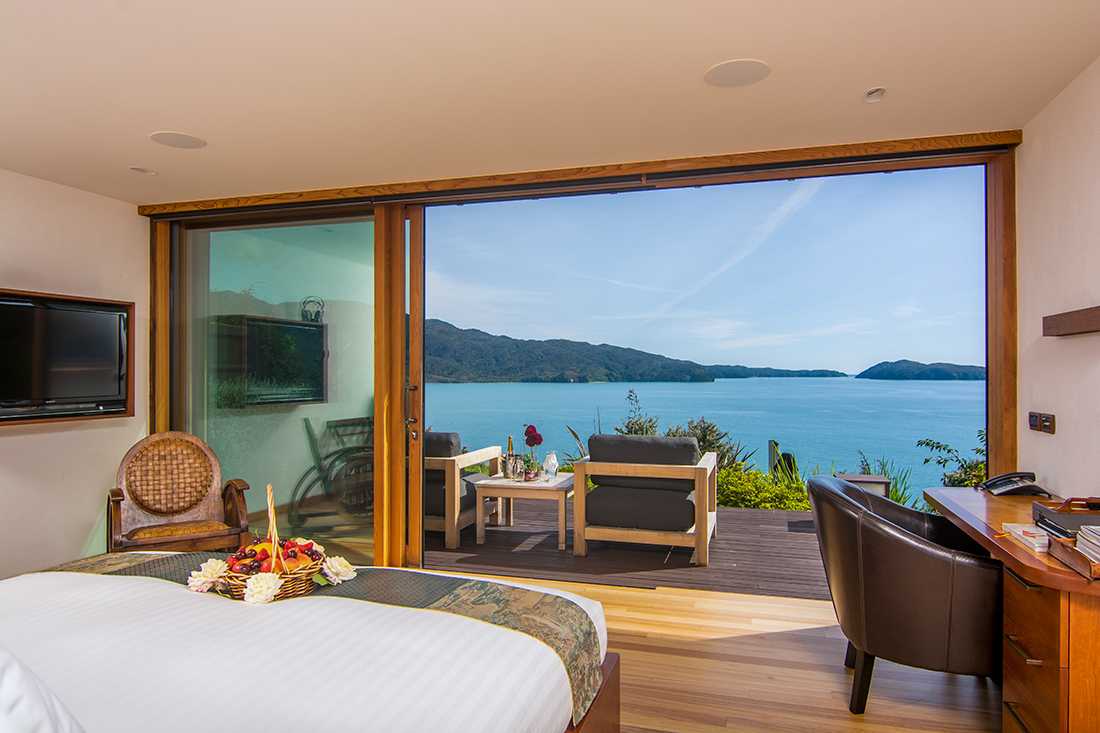 A large Japanese-style suite with panoramic ocean views and two terraces