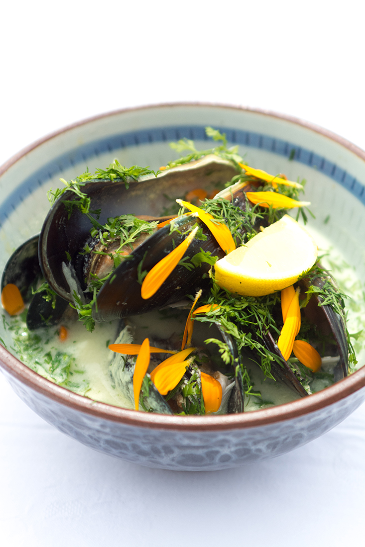 Steamed locally collected fresh mussels