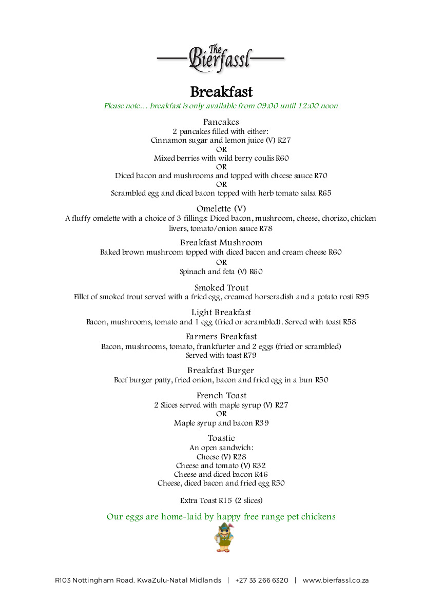 DOWNLOAD OUR BREAKFAST MENU HERE  . PLEASE NOTE THAT BREAKFAST IS ONLY AVAILABLE FROM 09:00-12:00 NOON.