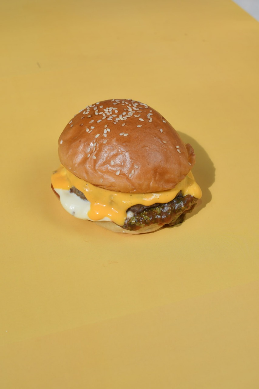 Son of A Bun, IDR 40,000++   seasoned beef patty, green ketchup, mayo, cheddar sauce