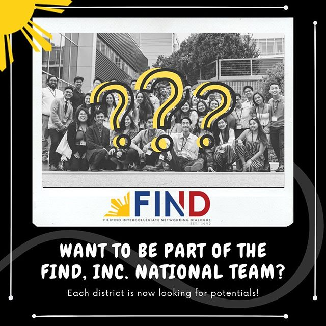 The FIND, Inc. National team is looking for potentials! If you're interested, message your district's National Director. Not sure who your National Director is? Check out the National Director contact page on the FIND, Inc. website: http://www.findinc.org/national-directors ! We are having our biweekly virtual office hours meeting Wednesday (9/25) at 9:30pm. Come join our meeting! (:
