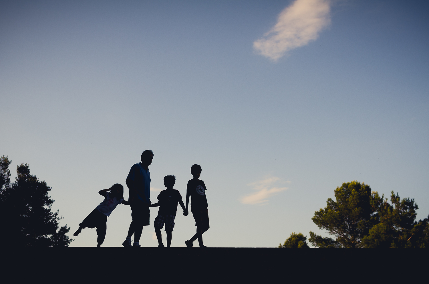 Family in front of the sky