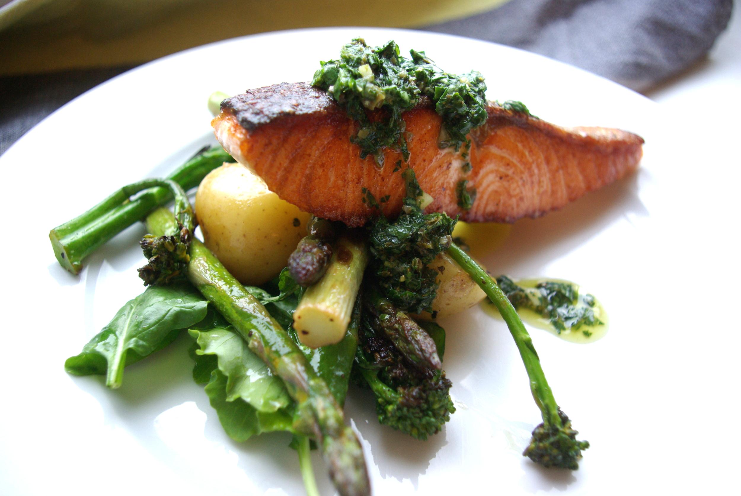 Salmon and salsa verde