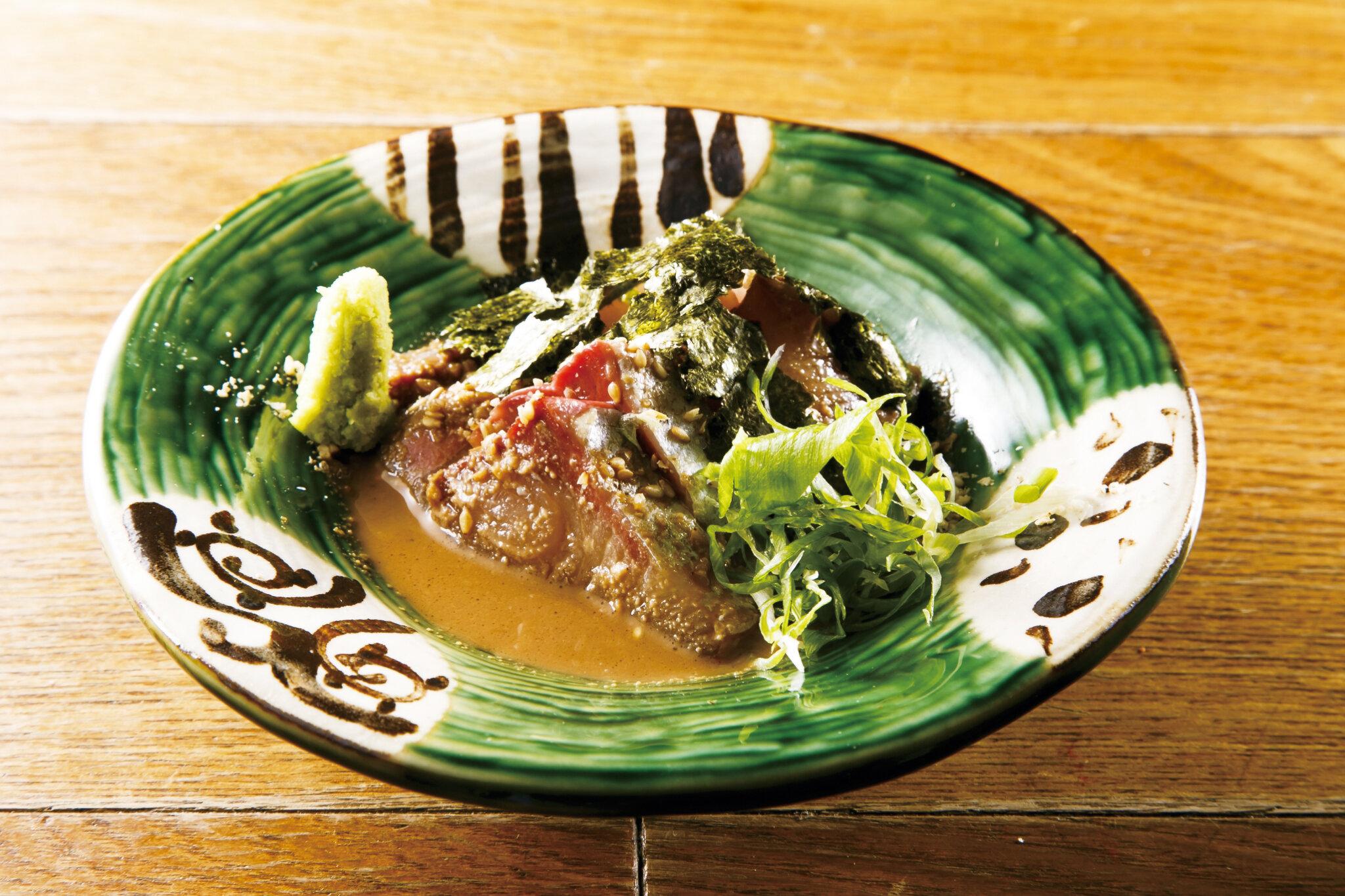 胡麻ブリ Yellowtail Sashimi with Sesame Sauce ($14)