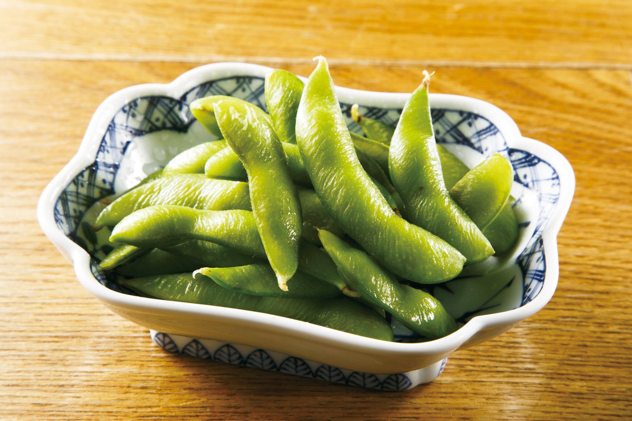 ワサビ枝豆 Edamame marinated with Wasabi Sauce ($5)