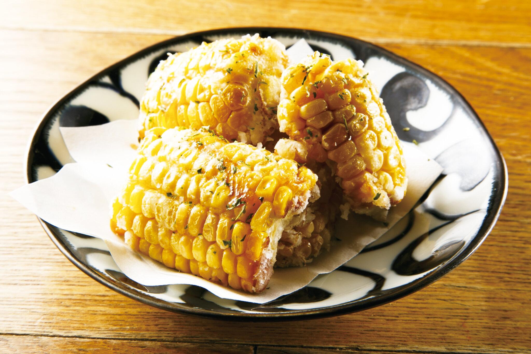 とうもろこしバター Deep Fried Corn with Butter ($8)