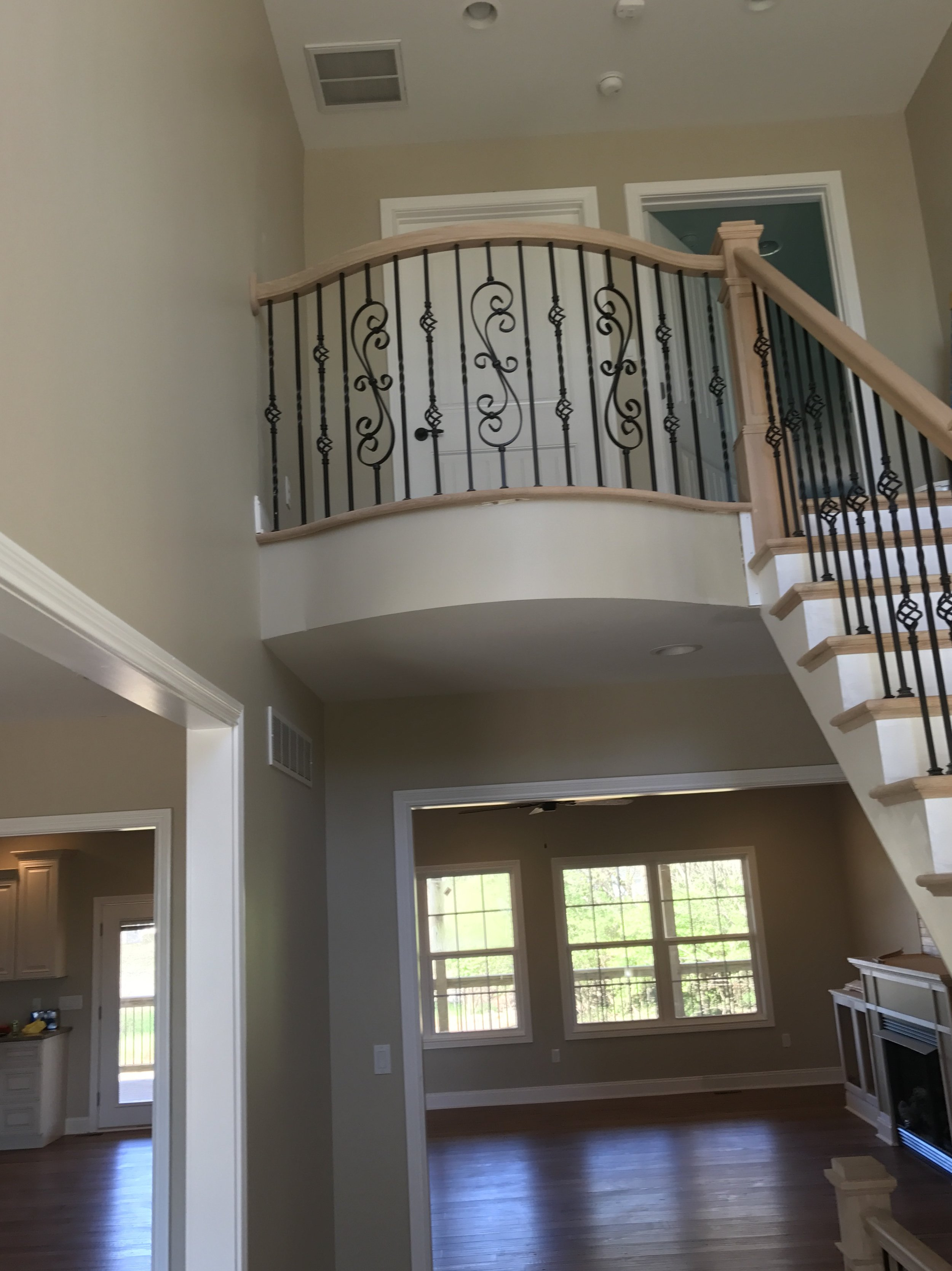 This beautiful ornate staircase leads to 2 very large bedrooms both complete with an ensuite bath and large walk in closets.
