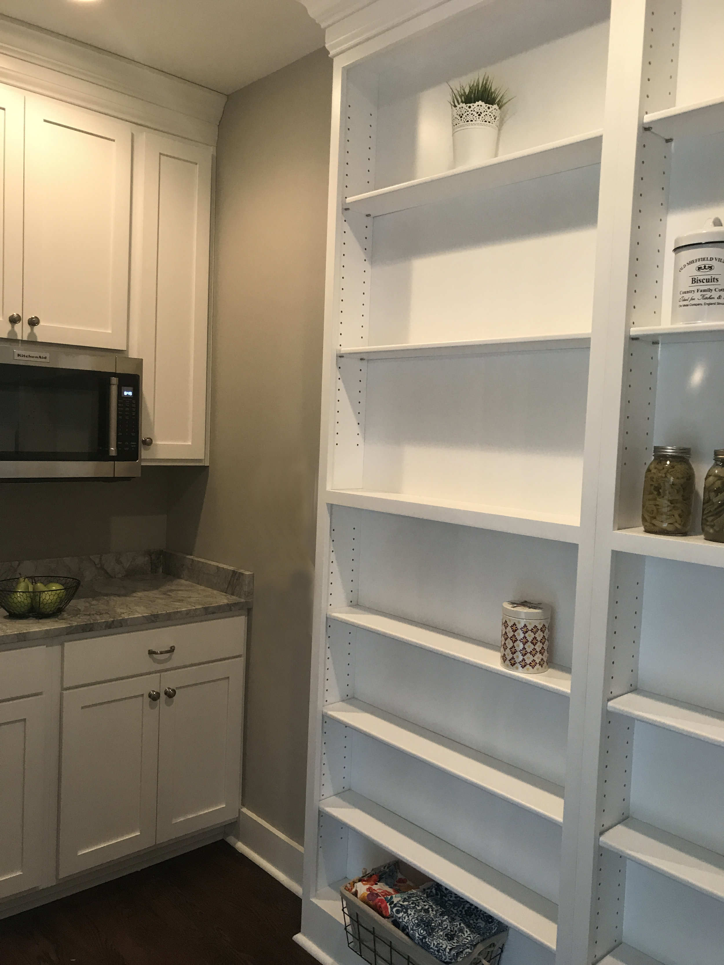 The cabinets and shelving in this beautiful pantry were all custom made.
