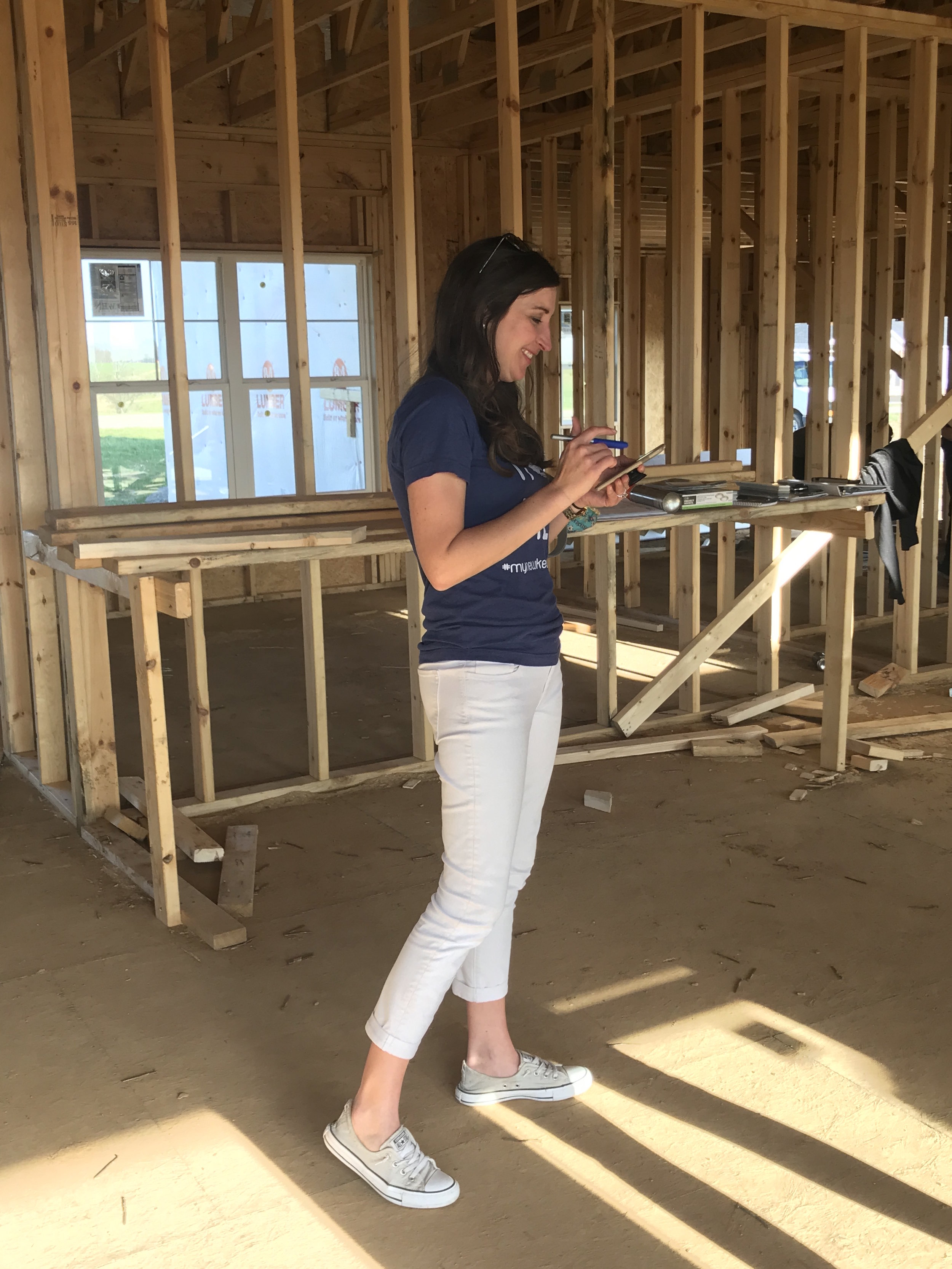- Kristy was busy calculating kitchen measurements making sure it all fits!