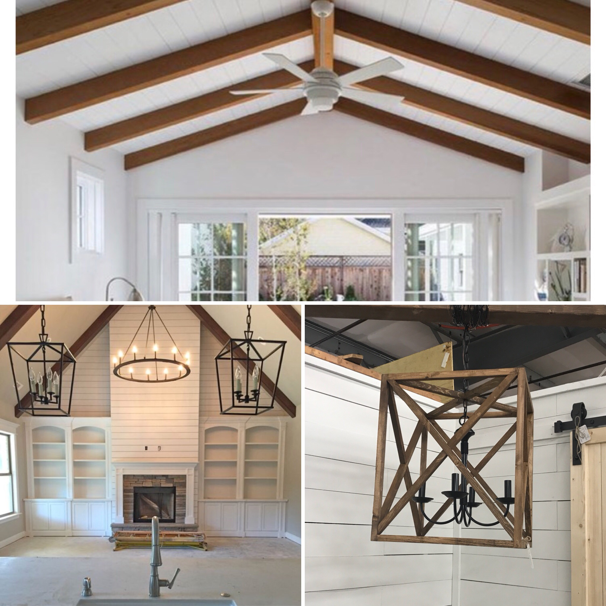 Inspiration - Shiplap, bookcases and beams…what's not to love?