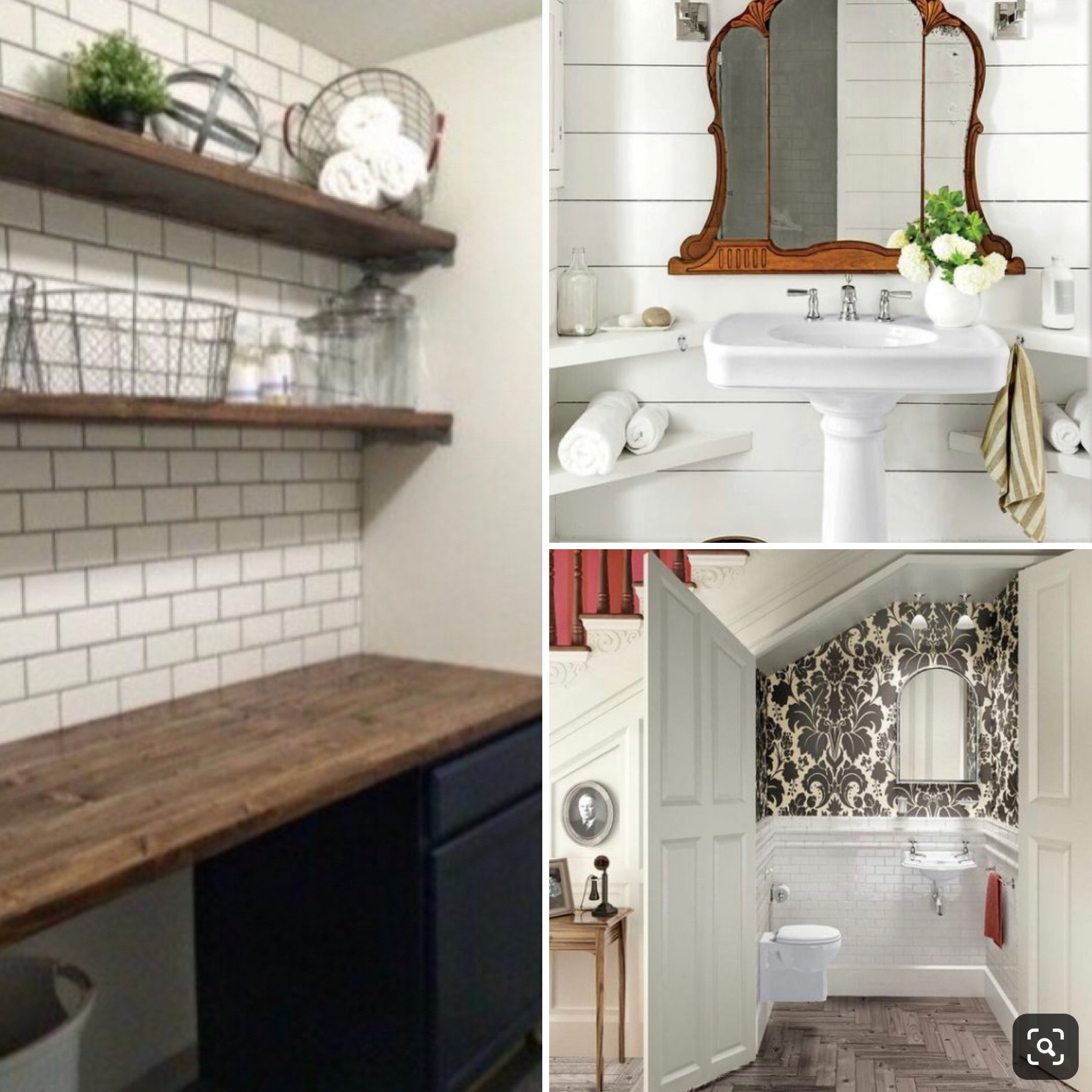 Inspiration - Shiplap walls & corner sink tucked under the stairs, subway tile wall & wood shelves in the laundry