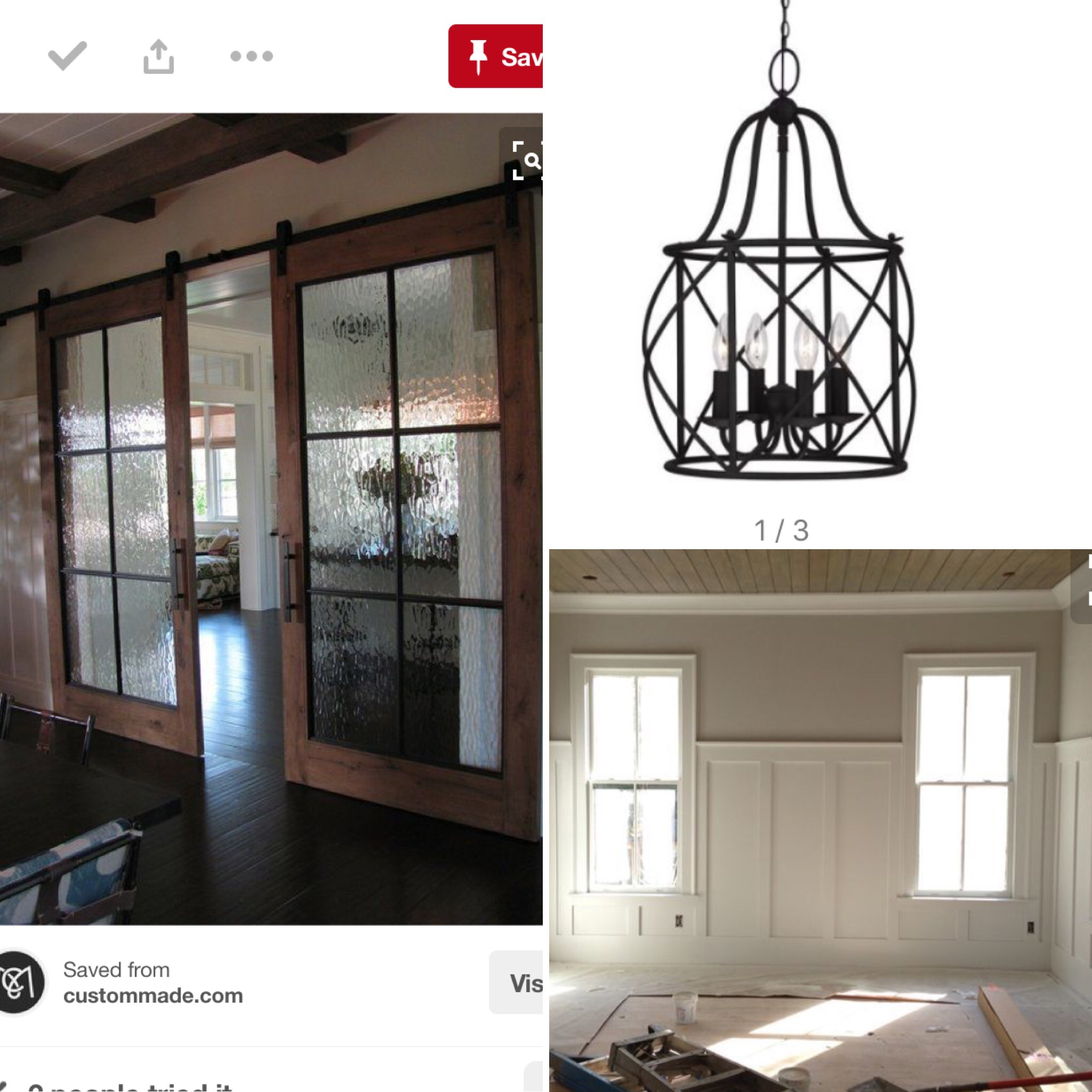 Inspiration - Wood stained glass sliding doors, black light fixture & 1/2 wall wainscoting.