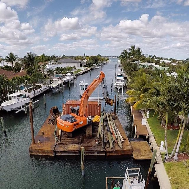#marineconstruction @aceboatlifts #boatlift #barge #piledriver #wildcat #boating