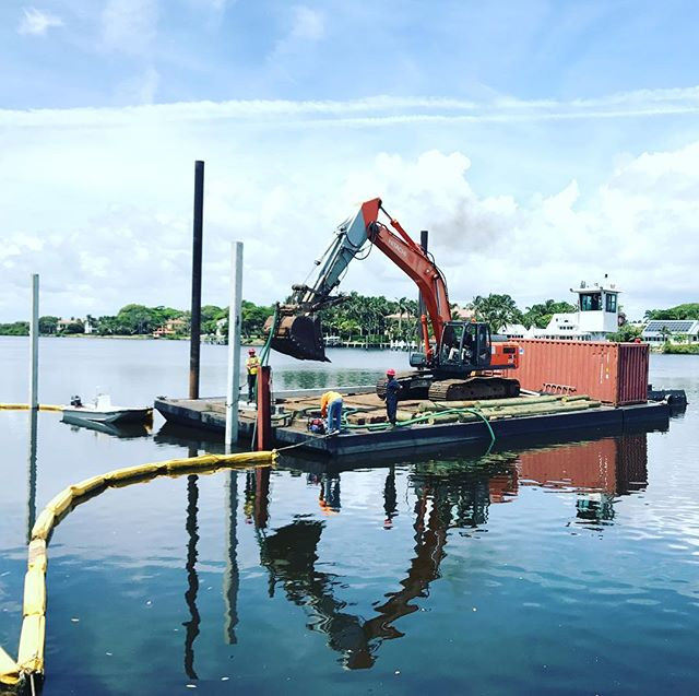 #marineconstruction #barge #piledriver #palmbeach #palmbeachcounty #dock