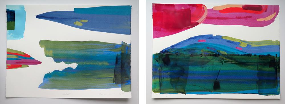 Acrylic paintings  Kalat  and  Horisontti , 2018.
