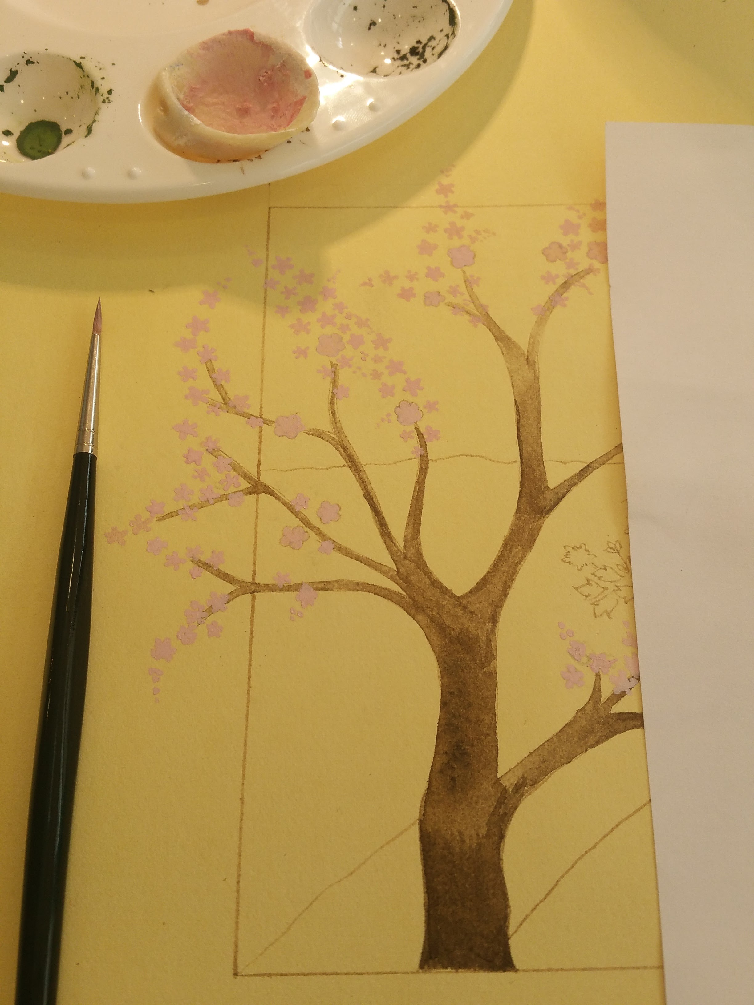 Painting initial blossom colour