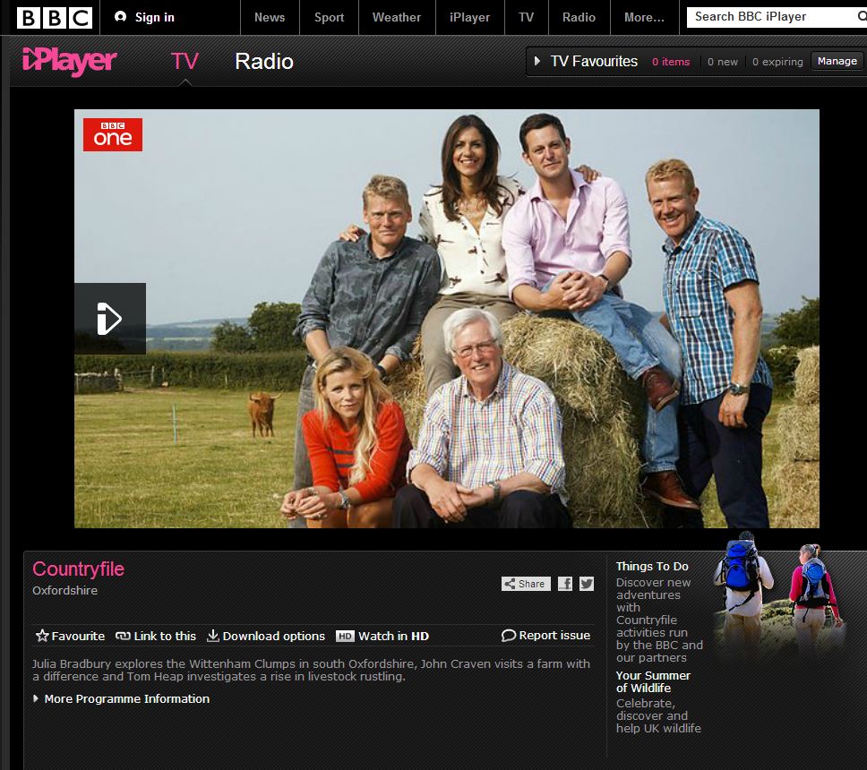 Another photo from recent Countryfile shoot on BBCi