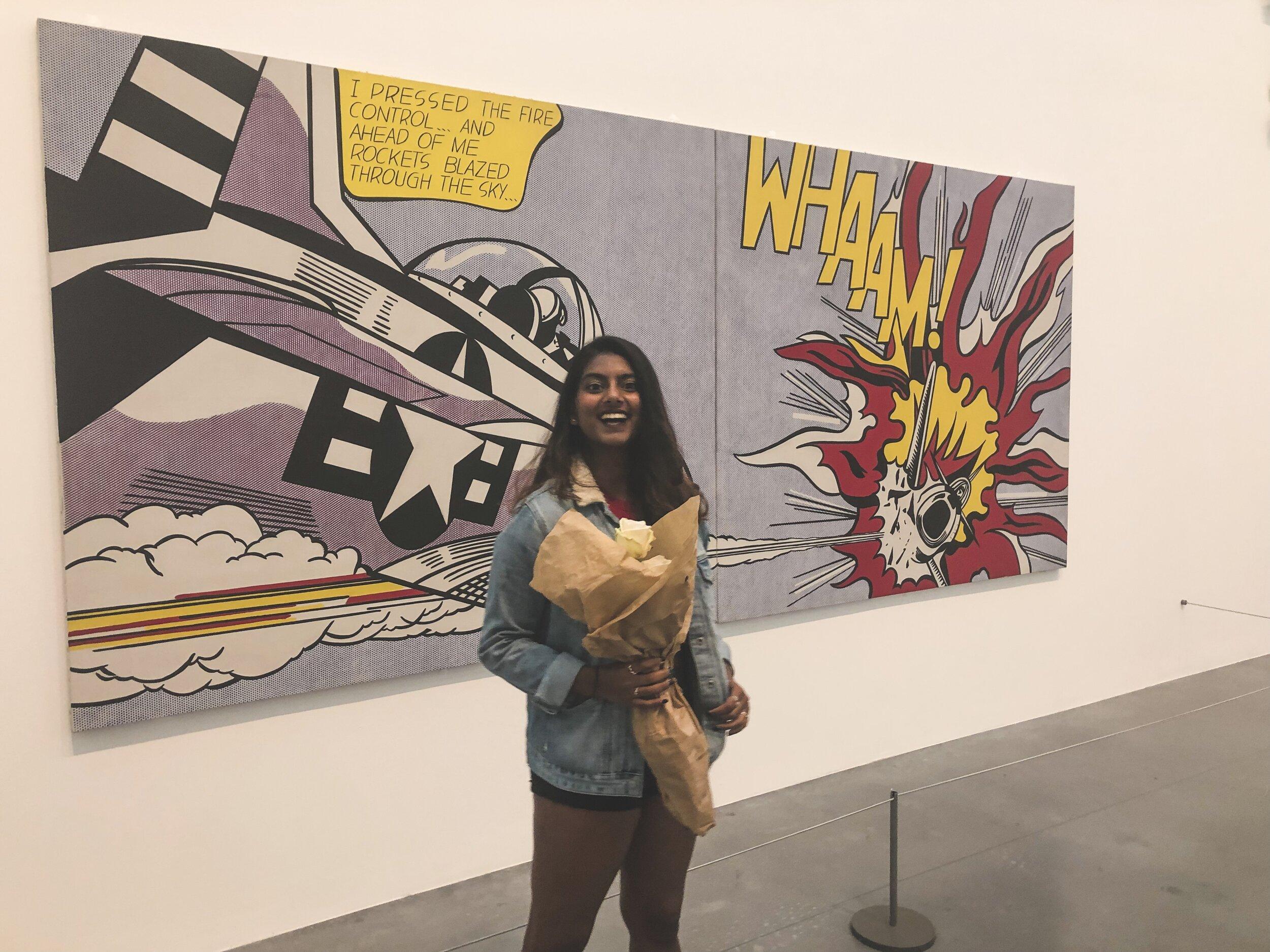 Baby's first time seeing a Lichtenstein in person