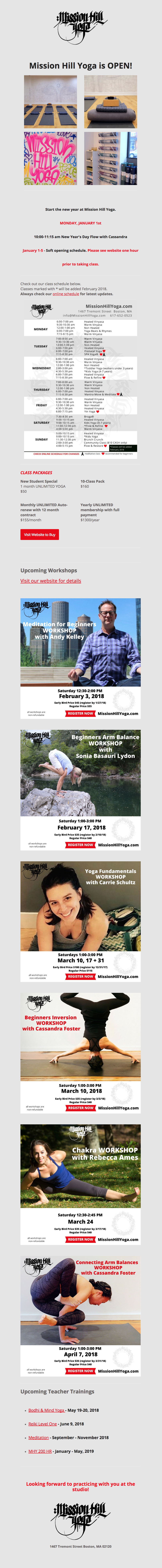 Mission Hill Yoga - studio opening newsletter