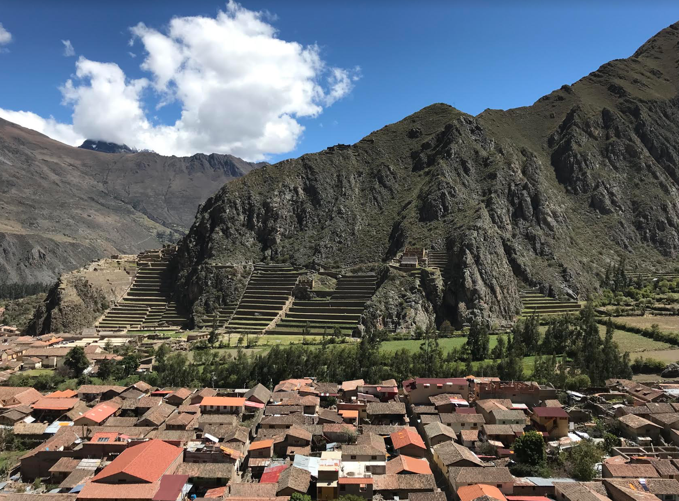 Captured:beautiful view from Pinkulluna Mountain in Ollantaytambo. Not captured: the thrill of climbing a wonderfully steep mountain with inconsistent railings, the rocks on the side of the mountain area perfect for sitting and catching one's breath, and the ideal mixture of sunshine and breeze.Moments like these are the ones worth remembering.