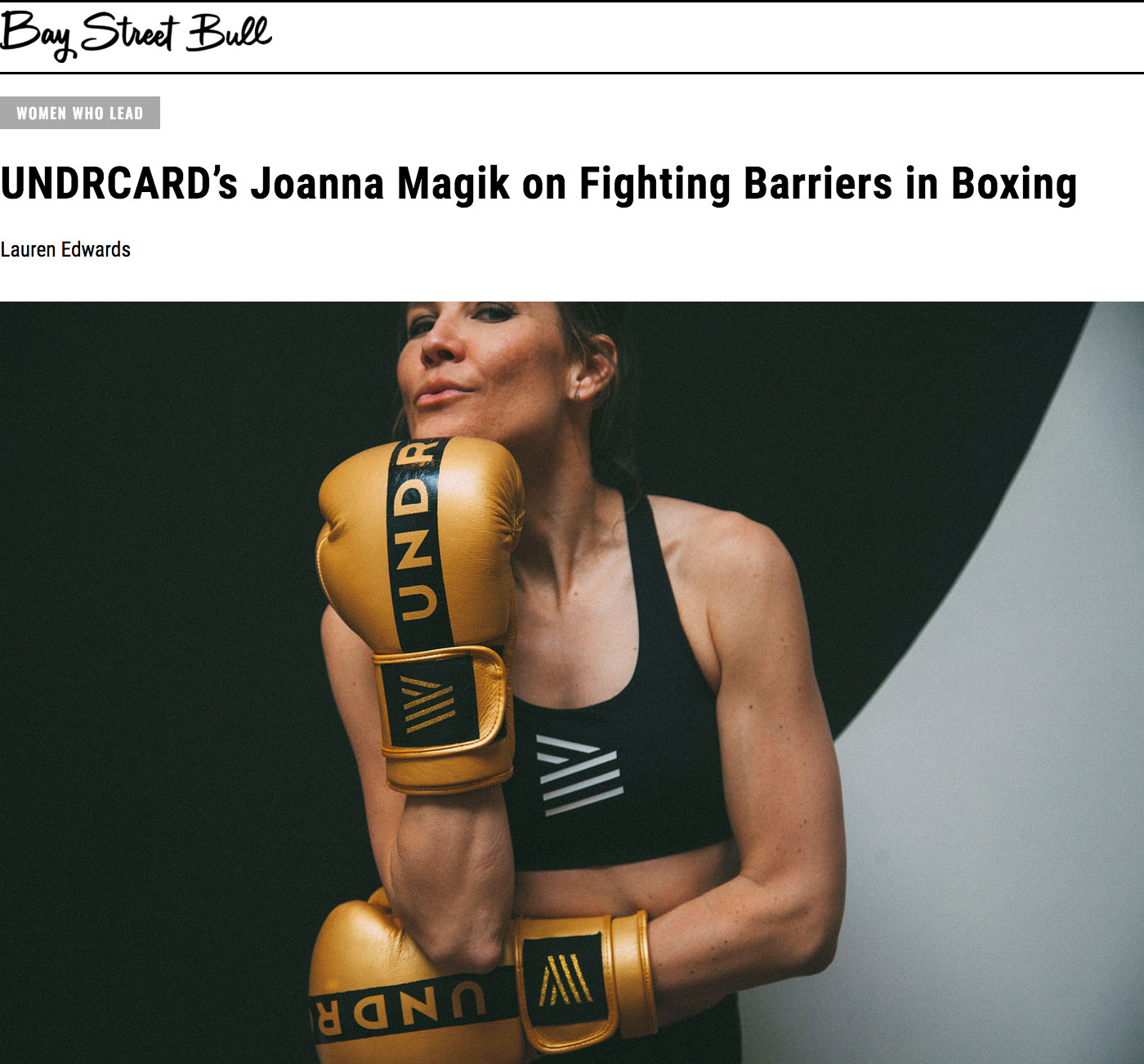 UNDRCARD Boxing Studio Toronto featured in The Bay Street Bull