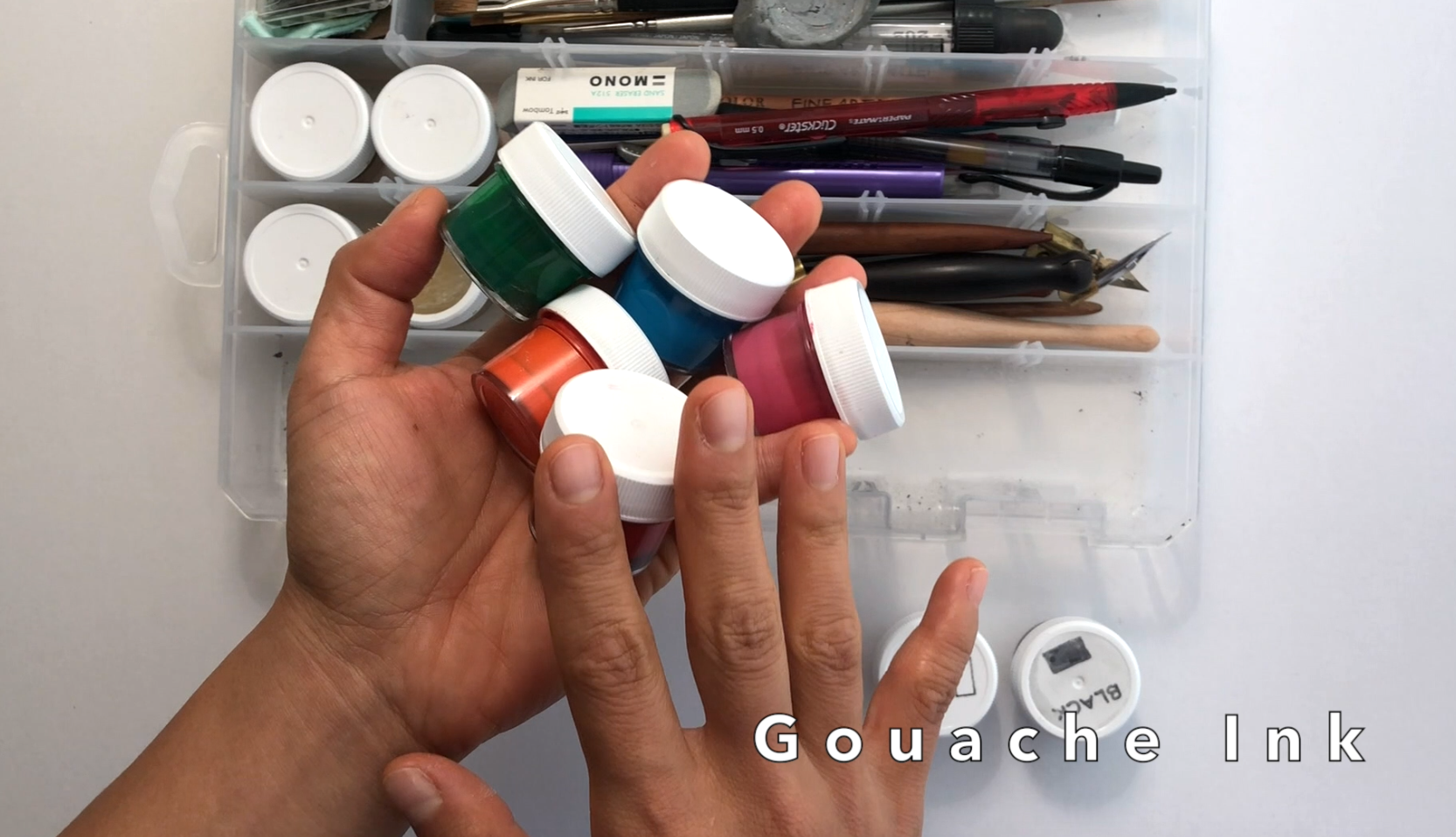 Colorful calligraphy inks for pointed pen