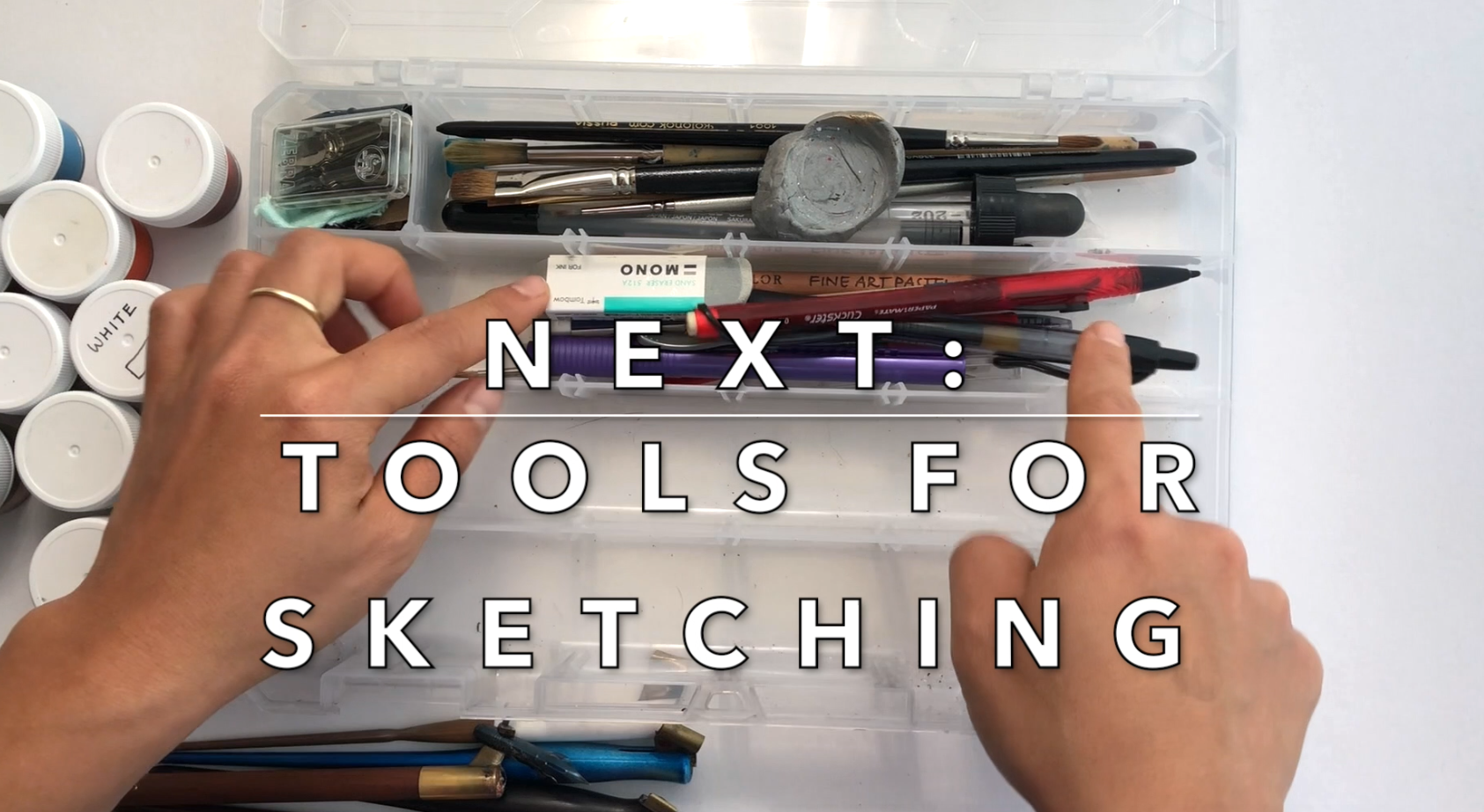 Tools for sketching before calligraphy