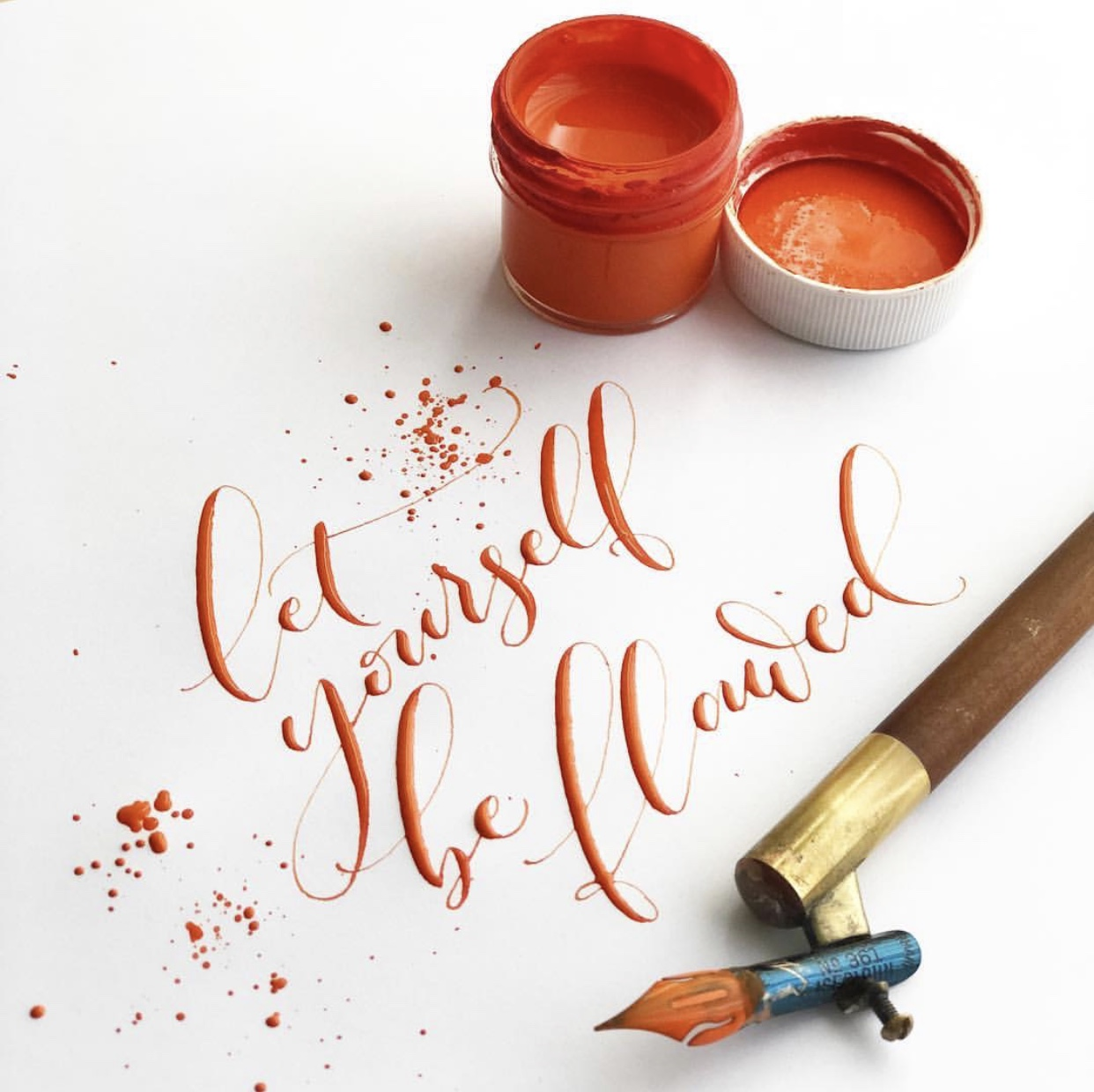 Let yourself be flawed modern pointed pen calligraphy