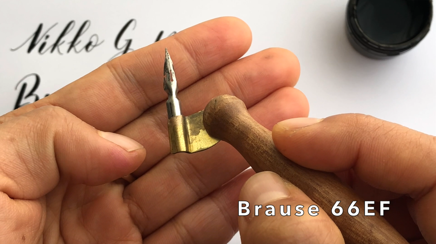 Brause EF66 calligraphy nib in oblique holder.png
