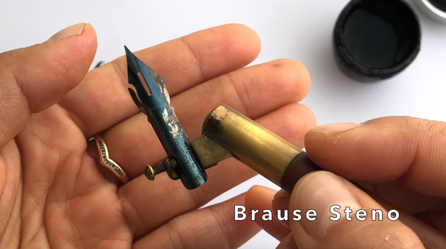 Brause Steno calligraphy nib in holder.png