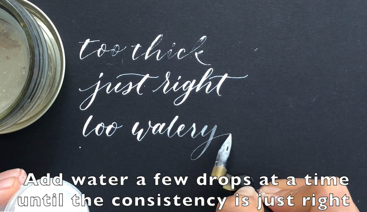mixing bleedproof white ink for pointed pen calligraphy.png