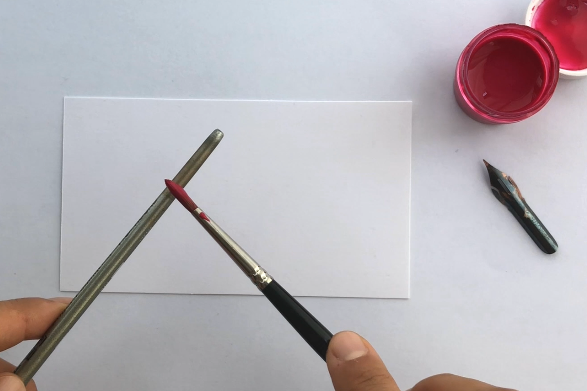 Ink splatters for calligraphy with paintbrush