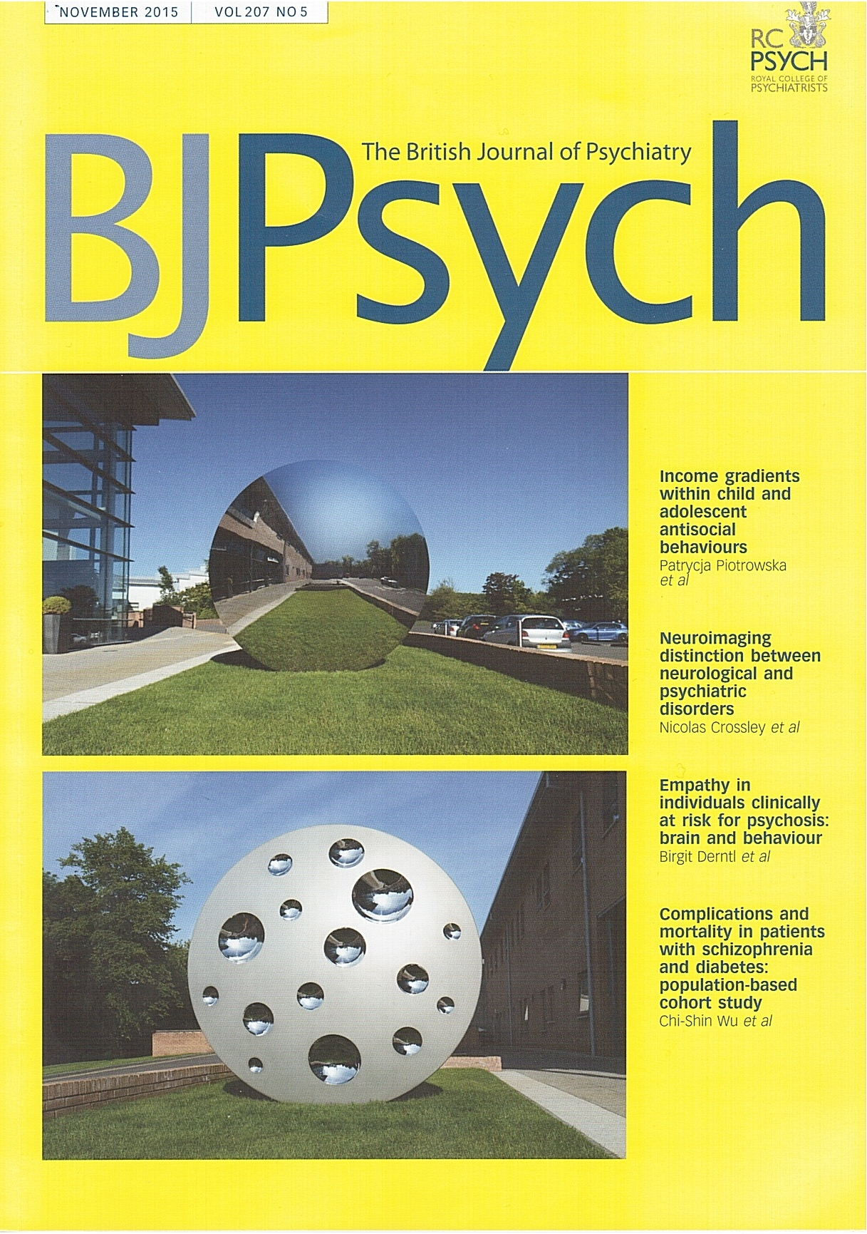 The British Journal of Psychiatry - November 2015 cover