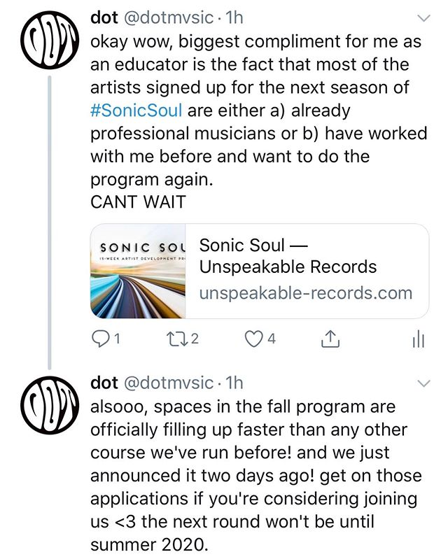 #temppost but i'm highest of keys excited about this next season of #sonicsoul. info and application link in my bio if you want to get in this round — don't sleep because it's filling up fast!!