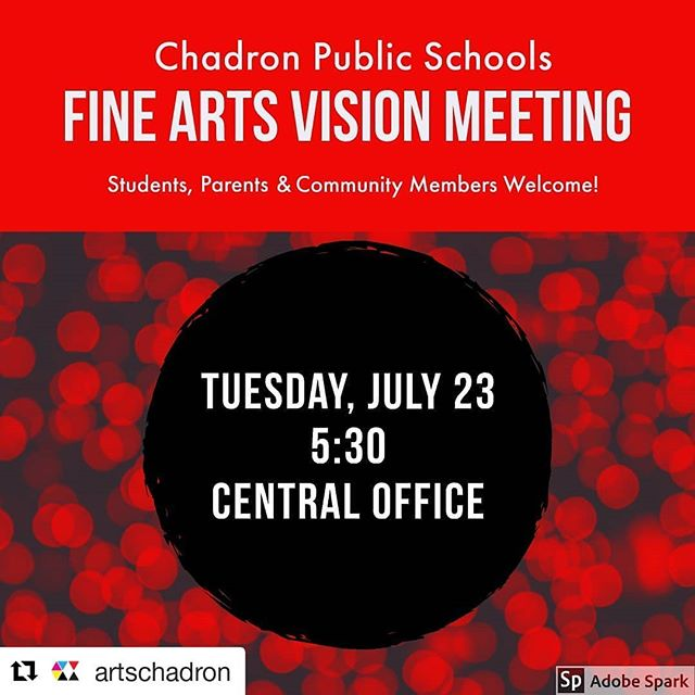 #Repost @artschadron ・・・ Fine Arts Vision Meeting tomorrow night. Please come and inspire growth in fine arts at Chadron Public Schools!  Tuesday, 5:30 at Central Office. All are welcome.  #Art #ArtClass #ChadronMade #community @CpsCardinals @ChadronHS @ChadronMS @ChadronPrimary